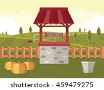 old water  well with bucket and ... | Shutterstock .eps vector #459479275