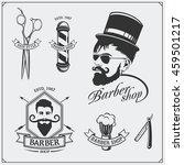 set of vintage barber shop... | Shutterstock .eps vector #459501217