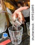 clear liquor shot pour | Shutterstock . vector #459516895