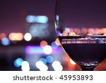 Wine Glass With Light Bokeh In...