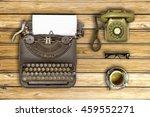 top view of stuff office desktop | Shutterstock . vector #459552271