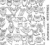 funny owls  seamless pattern... | Shutterstock .eps vector #459559801