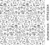 Stock vector seamless pattern hand drawn doodle pets stuff and supply icons set vector illustration symbol 459561064