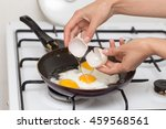 fried egg in a frying pan | Shutterstock . vector #459568561