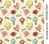 vector cute monsters pattern.... | Shutterstock .eps vector #459587569
