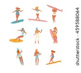 people on the beach. surfers.... | Shutterstock .eps vector #459588064