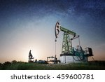 two oil pumps are working on... | Shutterstock . vector #459600781
