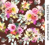 seamless pattern with flowers... | Shutterstock . vector #459612391