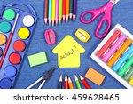 office supplies on jeans... | Shutterstock . vector #459628465