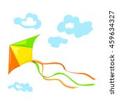 flying a kite with clouds.... | Shutterstock .eps vector #459634327