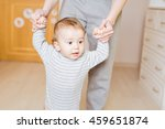 baby taking first steps with... | Shutterstock . vector #459651874