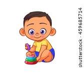 cartoon swarthy little baby boy ... | Shutterstock .eps vector #459685714