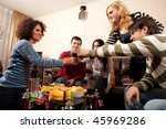 party people having some drinks ... | Shutterstock . vector #45969286