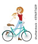 cartoon girl stand near bicycle ... | Shutterstock .eps vector #459697609