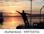 summer landscape silhouette of... | Shutterstock . vector #459710731