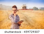 nice farmer wooman in glasses... | Shutterstock . vector #459729307