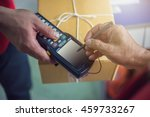 human signing on device to...   Shutterstock . vector #459733267