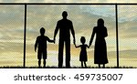 silhouette of a refugees family ... | Shutterstock . vector #459735007
