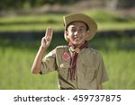 america boy scouts hiking . | Shutterstock . vector #459737875