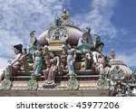 Details of the decorations on the roof of the Sri Mariamman Hindu temple, Singapore - stock photo