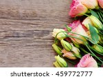 French Roses On A Wooden...