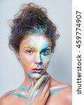 painted beautiful woman face ... | Shutterstock . vector #459774907