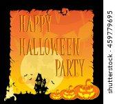 funny halloween pumpkins  moon  ... | Shutterstock .eps vector #459779695