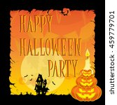 funny halloween pumpkins  moon  ... | Shutterstock .eps vector #459779701