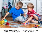two little boys plays with toy... | Shutterstock . vector #459793129