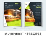 Green Flyer design. Corporate business template for brochure, annual report, catalog, magazine. Layout with bright color and abstract city photo placeholder. Leaflet, poster, flier or cover concept | Shutterstock vector #459813985