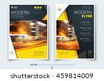 Yellow modern Flyer design. Corporate business template for brochure, report, catalog, magazine. Layout with bright color and abstract city photo placeholder. Leaflet, poster, flier or banner concept | Shutterstock vector #459814009