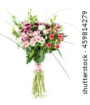 Small photo of bouquet of alstroemeria, chrysanthemum and eustoma in a vase isolate
