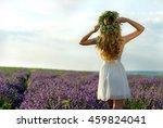 beautiful girl in lavender...   Shutterstock . vector #459824041