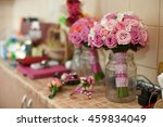 pink wedding bouquet stands in... | Shutterstock . vector #459834049