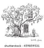 a secret place. old house.  | Shutterstock . vector #459859531