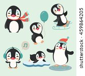 cute winter penguins set | Shutterstock .eps vector #459864205