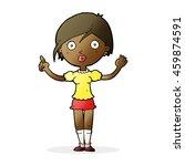 cartoon girl asking question | Shutterstock . vector #459874591
