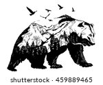 Vector Double exposure, bear for your design, wildlife concept | Shutterstock vector #459889465