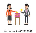 women putting voting papers in...   Shutterstock .eps vector #459927247