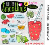 healthy smoothie recipe set....   Shutterstock .eps vector #459931639