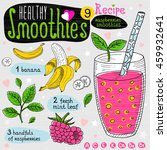 healthy smoothie recipe set.... | Shutterstock .eps vector #459932641