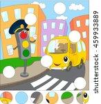 cartoon bus and traffic lights. ... | Shutterstock .eps vector #459933889