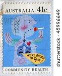 australia   circa 1990  a stamp ...   Shutterstock . vector #45996649