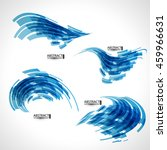 abstract 3d icon set with blue... | Shutterstock .eps vector #459966631