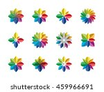 abstract rainbow flower logo ... | Shutterstock .eps vector #459966691