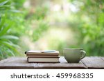 notebook with pencil and cup on ... | Shutterstock . vector #459968335