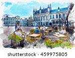 watercolor of scenery... | Shutterstock . vector #459975805