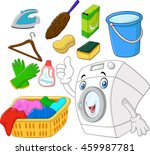 collection of laundry equipment ... | Shutterstock .eps vector #459987781