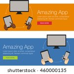 vector banner with laptop ... | Shutterstock .eps vector #460000135