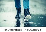 Girl In Rubber Boots Outdoors...